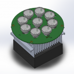 Assembly PCB with LEDs 3D With Heatsink Lenses
